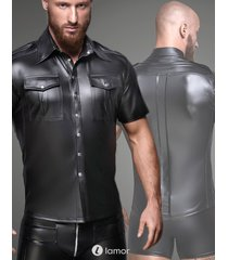 * noir handmade heren shirt met voorzakken