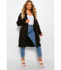 nepwollen jas met kraag, zwart