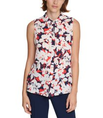 karl lagerfeld paris printed sleeveless blouse