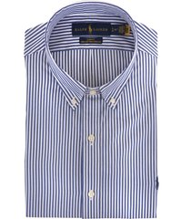 ralph lauren man slim fit shirt in white and blue striped poplin