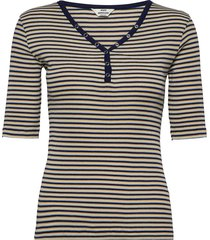 2x2 cotton stripe tarolla s t-shirts & tops short-sleeved svart mads nørgaard
