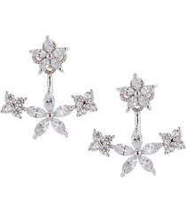 18k white gold-plated & crystal flower ear cuffs
