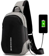 mochila bolsa mala anti furto cross body usb tablet notebook cinza