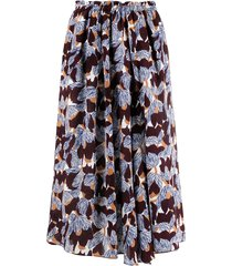 alysi high-rise floral-print silk skirt - white