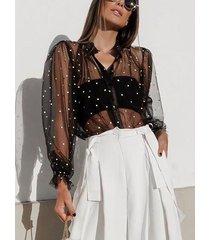 blusa de manga de soplo de lunares de malla negra sexy