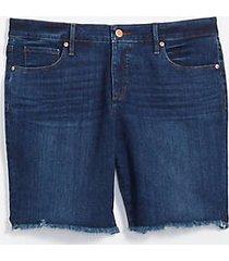 loft plus frayed skinny bermuda shorts in indigo wash