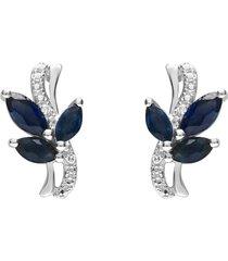 orecchini a lobo in oro bianco con zaffiri 0,84 ct e diamanti 0,01 ct per donna