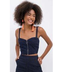 top jeans com zíper frontal em material sustentável