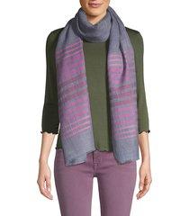 saachi women's striped wool silk scarf - denim