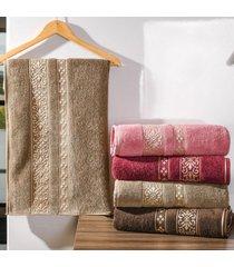 kit 4 toalhas de rosto passione detalhes em dourados castanho - tessi