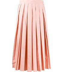 fendi embroidered karligraphy motif pleated skirt - pink