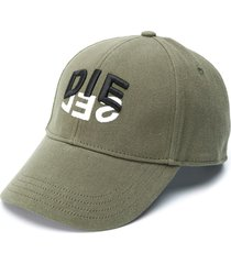 diesel c-dive two-tone logo print cap - green