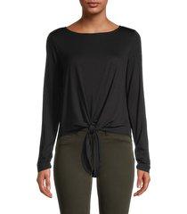 max studio women's tie-front long-sleeve top - black - size xl