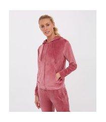 jaqueta básica esportiva plush com capuz e bolso canguru | get over | rosa | gg