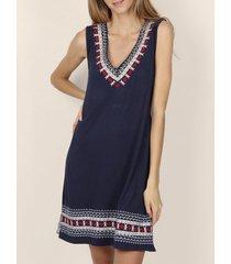korte jurk admas navy tribal zomerjurk marineblauw adma's