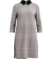 vila 14050348 vicollar 3/4 dress black/white check grijs