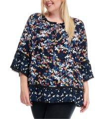 fever plus size floral-print peplum blouse
