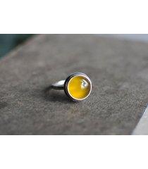 srebrny pierścionek - żółty agat