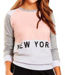 buzo new york blanco-gris  para mujer croydon