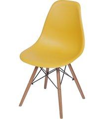 cadeira dkr polipropileno e base de madeira lawang – açafrão
