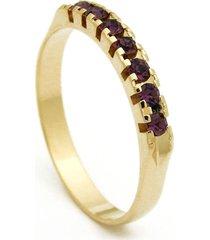 meia alianã§a horus import pedras violeta ametista banhada ouro amarelo 18 k - 1010001 - dourado - feminino - dafiti