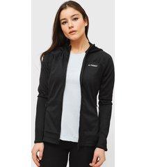 chaqueta adidas outdoor w tracero ho fl negro - calce ajustado