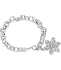 diamond accent snowflake charm bracelet in fine silver plate