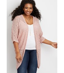 maurices plus size womens crochet open front kimono pink