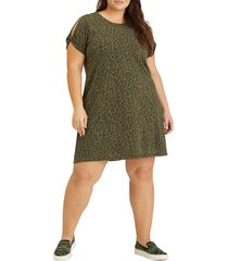 sanctuary so twisted cotton blend a-line t-shirt dress, size 3x in camo leo at nordstrom