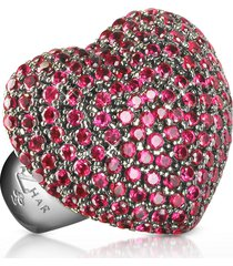 azhar designer rings, sterling silver and cubic zirconia big heart ring