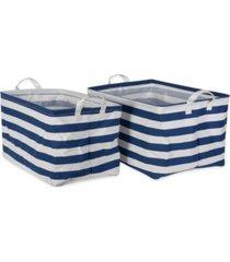 design imports polyesterethylene coated cotton polyester laundry bin stripe rectangle large set of 2