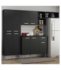 cozinha completa compacta c/ armário e balcáo c/ tampo 4 pçs xangai multimóveis preta