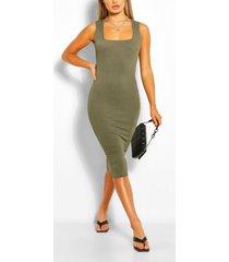 basic bodycon-midi-jurk met vierkante hals, kaki
