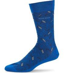 boss hugo boss men's print chevron mid-calf socks - blue