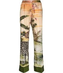 f.r.s for restless sleepers jungle silk-blend palazzo trousers -