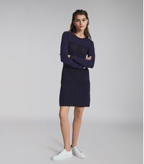 reiss elsie - textured knitted mini dress in navy, womens, size xl