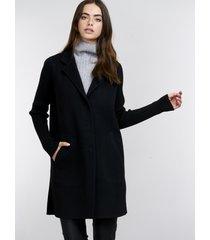 geweven jas met gebreide mouwen van cashmere melange
