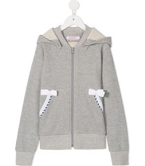 familiar bow-detail zipped hoodie - grey