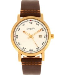 simplify quartz the 5300 gold case, genuine brown leather watch 40mm
