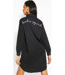 bride squad embroidered denim shirt dress, black