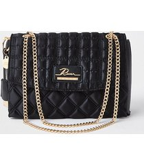 river island womens black quilted satchel