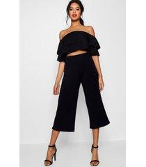 dubbele bandeau top en culottes set, zwart