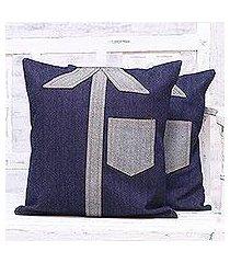 denim cushion covers, 'denim shirts' (pair) (india)