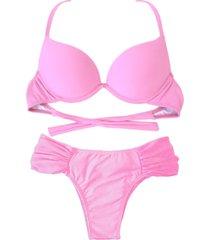 biquíni bojo bolha alça estreita divance calcinha lateral dupla franzida rosa bebê