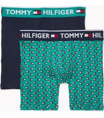 tommy hilfiger men's bold cotton boxer brief 2pk navy/green all over flag - m