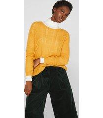 sweater textura con lana y alpaca amarillo esprit
