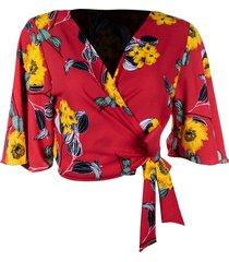 blusa kimono linda d floral coral