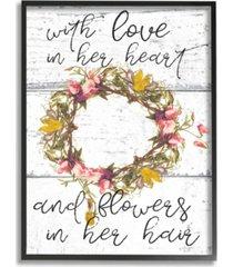 """stupell industries love in her heart flowers in her hair flower crown framed giclee art, 11"""" x 14"""""""