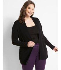 lane bryant women's open-front ribbed cardigan 18/20 black