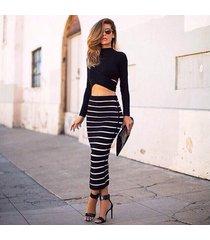 vestido largo coverall casual-negro